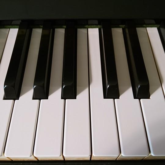 昼下がり、工事の騒音の中、ピアノを弾いています♪