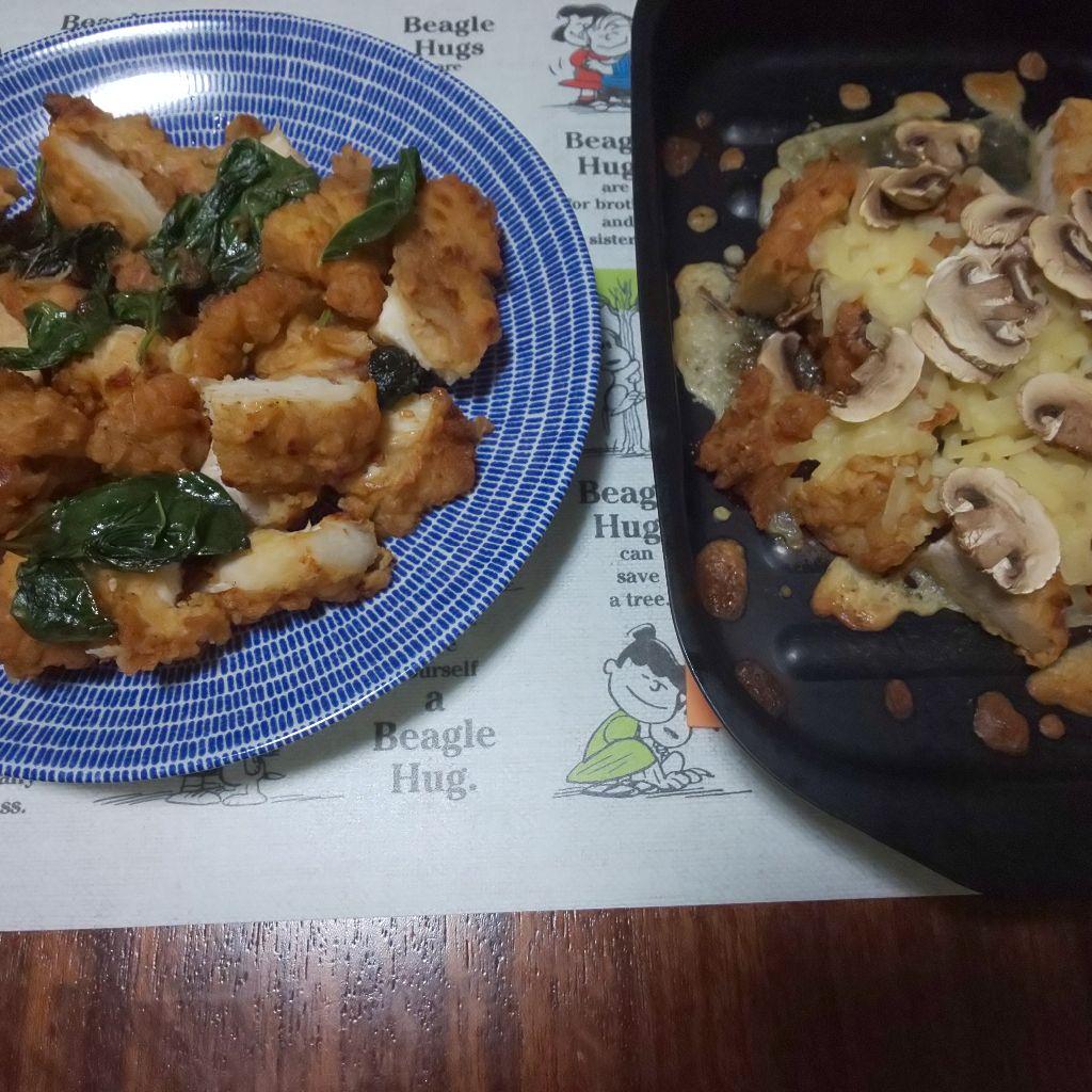 メイン.13 骨なしチキンのカリカリバジル炒めとマッシュルームチーズ オーブン焼き
