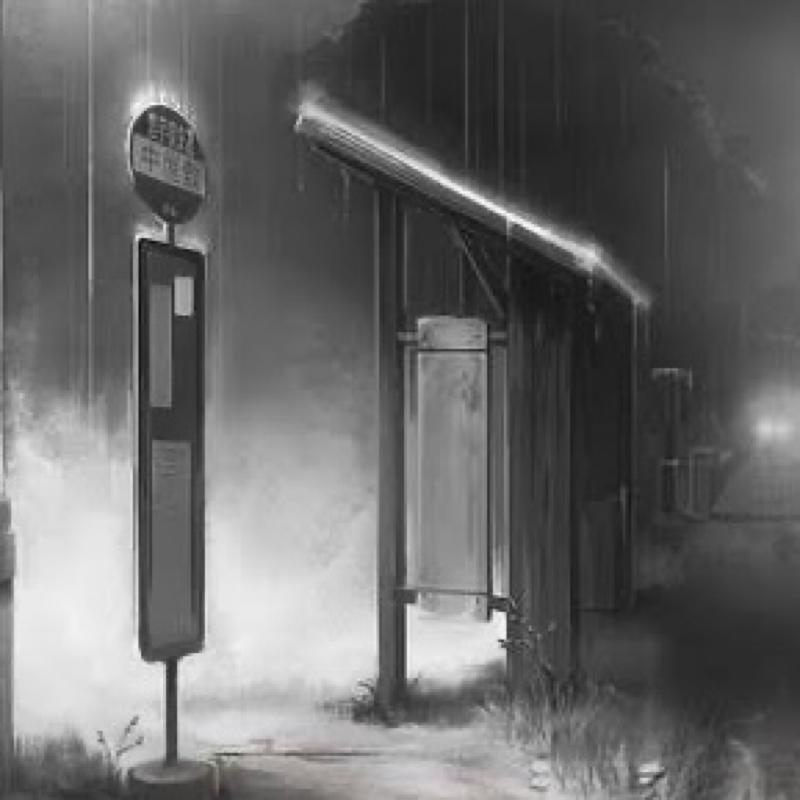 【女性向け】雨の日のバス停