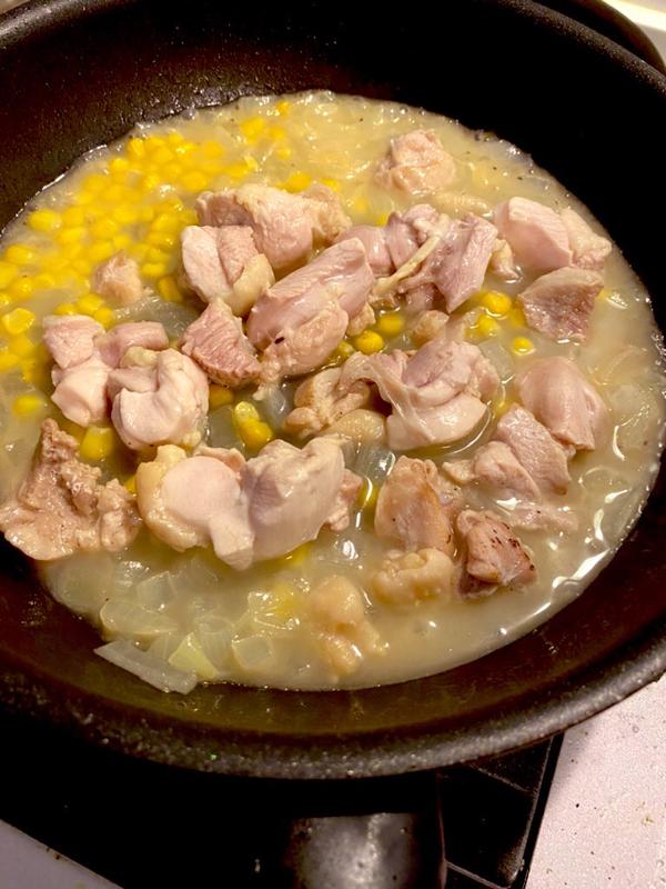 給食卵アレルギー 親子丼を鶏モモとコーンのあんかけ #120