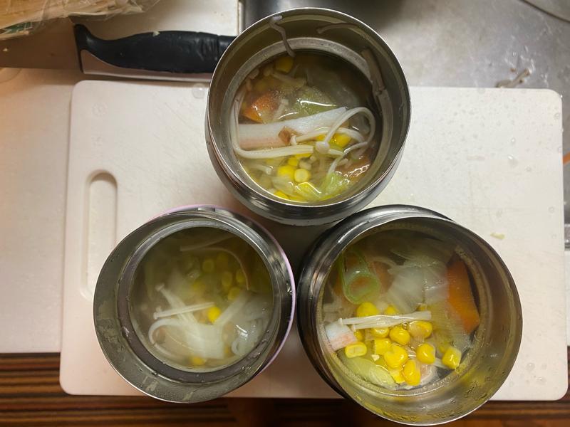 小学校給食卵アレルギー代替メニューカニたま汁からのカニコーン汁 #144