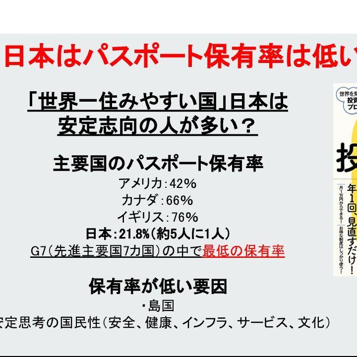 日本はパスポート保有率が低い