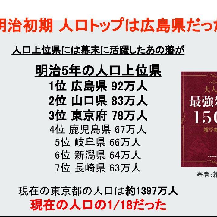 明治初期 人口トップは広島県だった