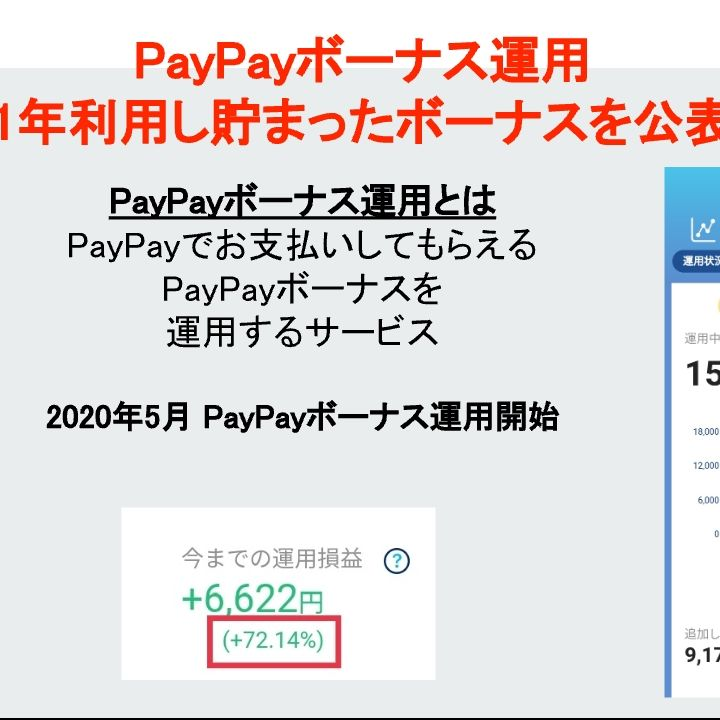 PayPayボーナス運用1年利用して溜まったボーナスを好評