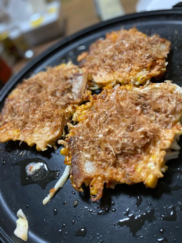 朝ラン18℃。我が家オリジナルお好み焼きのレシピと初物を食べて思い出す落語「目黒の秋刀魚」。#189
