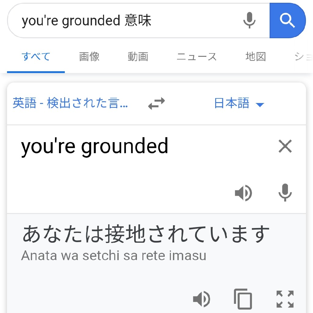 you're grounded! ってなに?グーグル翻訳は間違ってます