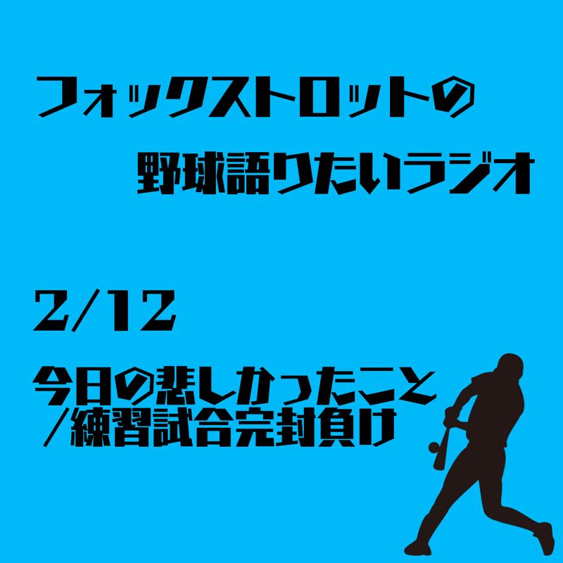 2/12 今日の悲しかったこと/練習試合完封負け